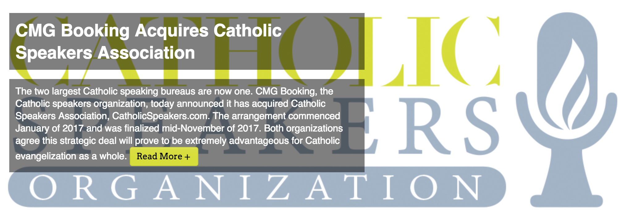 CMG Booking Acquires Catholic Speakers Association cs